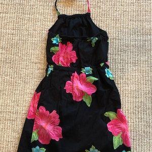Old Navy Dresses - Old Navy Black Floral Halter Dress EUC- XS (3-4)